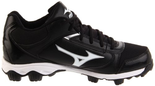 pictures of Mizuno Men's 9-Spike Franchise 6 Mid Baseball Cleat,Black/White,11.5 M US