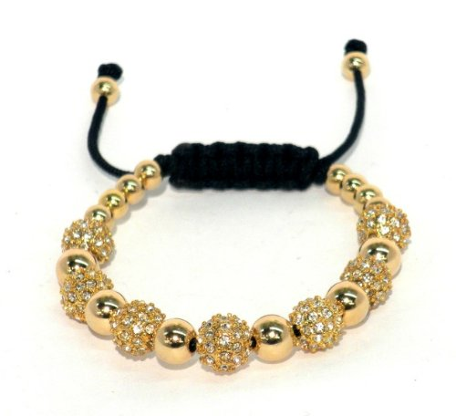 Macrame Bracelet With 8mm Gold Plated Crystal Pave and 14kt Gold Filled Beads With Macrame Lock and Gold Filled Ends Adjustable Handmade Unisex