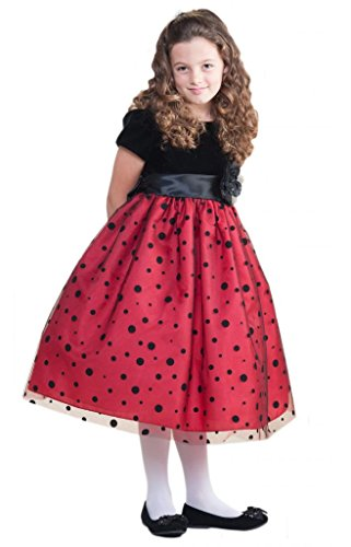 Crayon Kids Darling Black Polka Dots Christmas Dress front-1041614