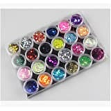 Liroyal 24Box Nail Art Decoration Glitter Paillette Dust Powder