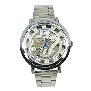 Gift In Box Sliver Dragon Skeleton Dial Stainless Steel Strap Atomatic Mechanical Men's Watch G8118-06
