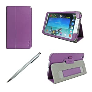 ProCase Samsung Galaxy Tab 3 8.0 Case bonus stylus pen included - Flip Stand Leather Cover Case for Samsung Galaxy Tab 3 8.0 Inch Android Tablet, Built-in Stand, with Auto Sleep / Wake Feature SM-T3110 SM-T3100 (Purple)