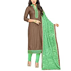 Applecreation Brown Dress Material With Heavy Embroidered Matching Dupatta for Women's