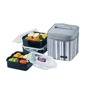 Lock & Lock Picnic Lunch Box Bento Set - HPL823DG, Gray (Small)