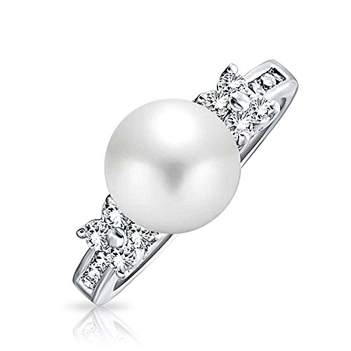 Bling Jewelry Flower Simulated Pearl Engagement Ring ( Size 10) (Pearl Ring Size 10 compare prices)
