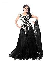 Pure Fashion Women's Net Unstitched Dress (Black)