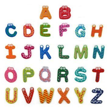 Click Down Wooden Alphabet Fridge Magnets