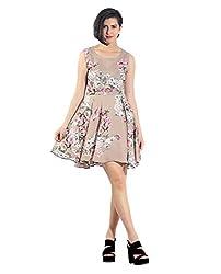 Chique Women's Dress (beigeud_Beige _Medium)
