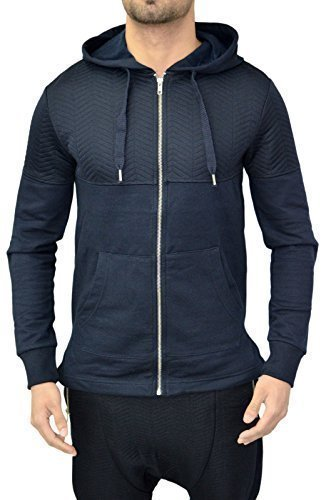Da uomo Designer Genetic Apparel cerniera giacca felpa con cappuccio Top Pullover Felpa con cappuccio 3colori Navy Medium
