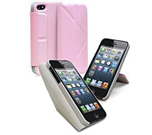 GreatShield ORI-Style Protective Leather Case Cover with Adjustable Stand for Apple iPhone 5 / 5S - Retail Packaging (Light Pink)