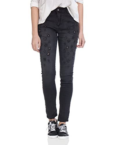 Tantra Jeans Distressed With Strass schwarz