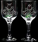 Pair of Wine Glasses in a Mackintosh Tulip Design. Handpainted and designed in the UK by Beverley Gallagher, these significant and expressive gifts are ideal for birthdays, anniversaries, weddings, engagements, Christmas, Valentine's Day, Mother's Day, E
