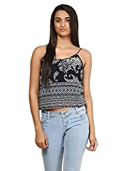 Mayra Women's Georgette Top (1604T08323_S, Navy Blue , )