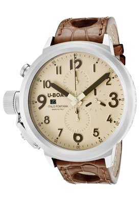 U-Boat Flightdeck Beige Stainless Steel Leather Automatic Mens Watch 6118