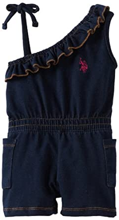 U.S. Polo Assn. Girls 2-6X Denim Knit Romper With One Shoulder, Blue, 3T