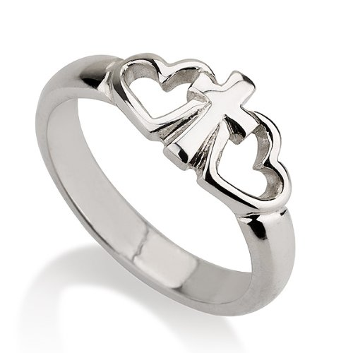 Sterling Silver Cross Ring With Two Hearts Heart Ring-Available Sizes 5,5.5,6,6.5,7,7.5,8,8.5,9 (8)