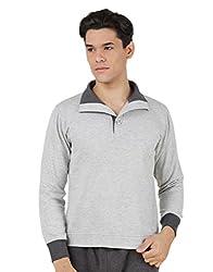 4Stripes Men's Causal Mock Neck Sweatshirt (4SSW001_S_GREY)
