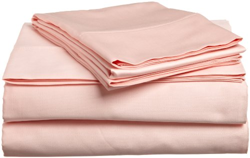 Impressions Genuine Egyptian Cotton 300 Thread Count King 4-Piece Sheet Set Solid, Peach front-867295