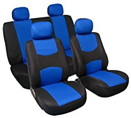 FH Group Universal Fit Full Set Flat Cloth Fabric Car Seat Cover, (Blue/Black) (FH-FB050114, Fit Most Car, Truck, Suv, or Van)