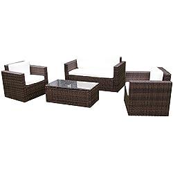 Gartenmoebel Garten Lounge Set Sitzmoebel Cannes in braun Rattan Lounge Polyrattan Gartenausstattung von Jet-Line