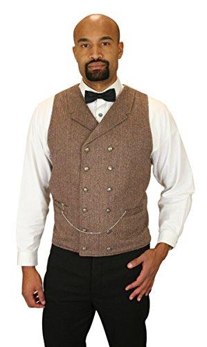 Historical-Emporium-Mens-Double-Breasted-Herringbone-Tweed-Vest