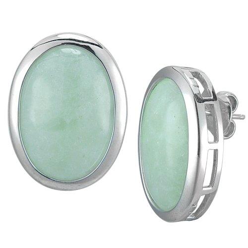 Sterling Silver Green Jade Oval Earrings
