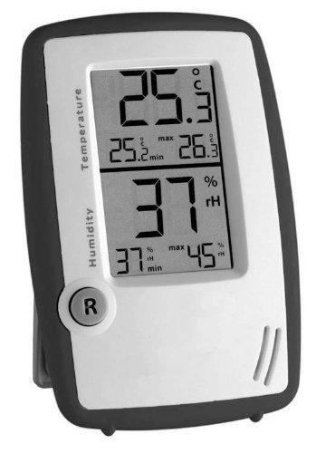 Thermometer / Hygrometer / Feuchtigkeitsmesser / Raumregler, Anthrazit / Weiß