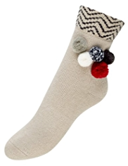 Assorted Pom-Pom Socks with Angora