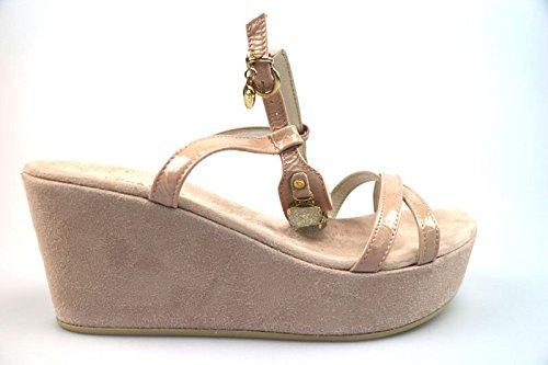 scarpe donna CESARE P. 39 sandali rosa vernice AS909