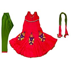 Pintoo Apparels Girls Red Traditional Chudidar Set for 9-10 Years