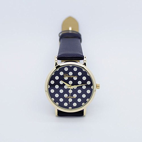 U-Beauty Newest Women'S Dot Printing Leather Wrist Watch (Black)
