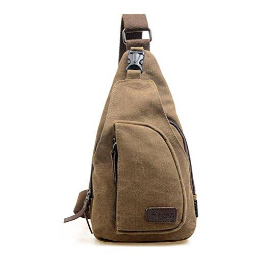 Pixnor Cool Mens sport Outdoor Casual tela sbilanciare zaino borsa tracolla Sling Crossbody petto Bag - taglia L (caffè)