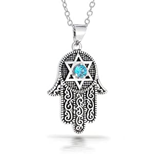 Bling Jewelry CZ Star of David Hamsa Pendant Necklace 16in Rhodium Plated