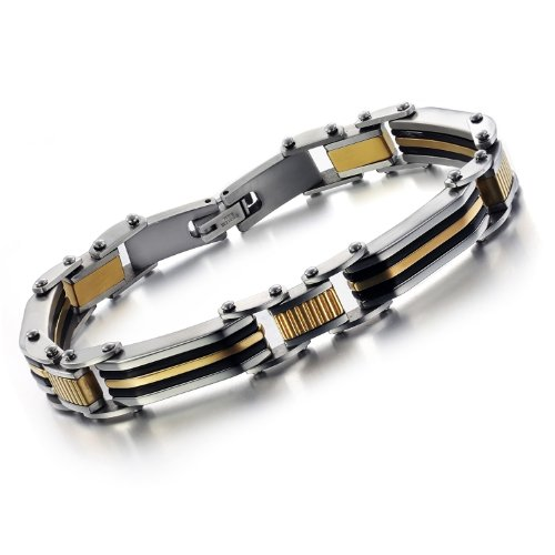OPK-New Fashion Jewelry Gold&Silver Cool Men's Titanium Stainless Steel Bracelet Bangle
