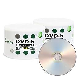 Smart Buy DVD-R 16X 4.7 GB Silver Inkjet Printable DVD Recordable Duplicators Pro 8 pk Wheel cap, 400PCS