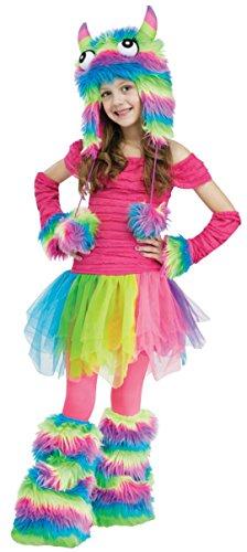 [Girls Rockn Rainbow Mnstr Kids Child Fancy Dress Party Halloween Costume, S (4-6)] (Comical Fancy Dress Costumes)