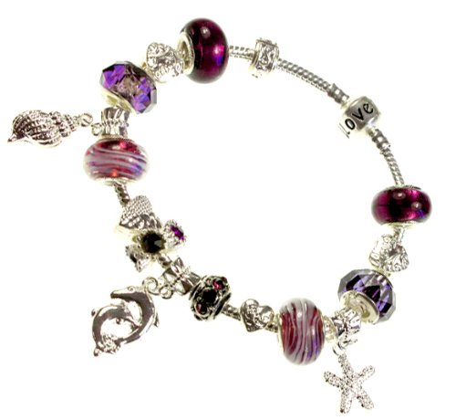 Nambeads Pandora style silver plated charm bracelet with Purple Amethyst beads..Ocean theme with Dolphin, Starfish, Shell & Heart Charms & clip stopper...The bracelet is supplied in a very nice gift box so a beautiful present for any occasion.