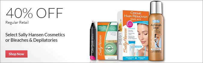 Select Sally Hansen Cosmetics or Bleaches & Depilatories, 40% off.  Shop Now.
