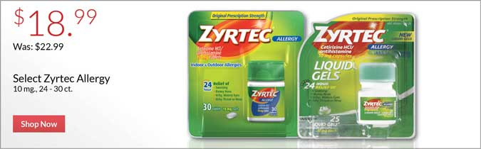 $18.99 select Zyrtec Allergy 10mg, 24-30 ct. Shop now.