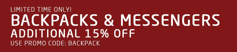 Limited Time Only! Backpacks & Messengers - Additional 15% Off. Use promo code BACKPACK