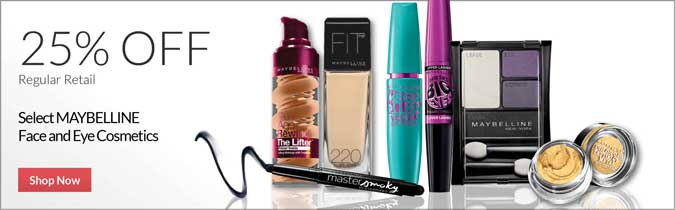 MAYBELLINE Eye & Face Cosmetics, 25% off