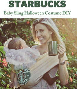 starbucks baby toddler halloween costume DIY sling