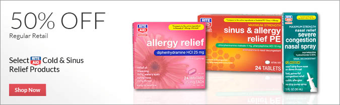 Select Rite Aid Brand Cold & Sinus Relief Products, 50% off. Shop Now.
