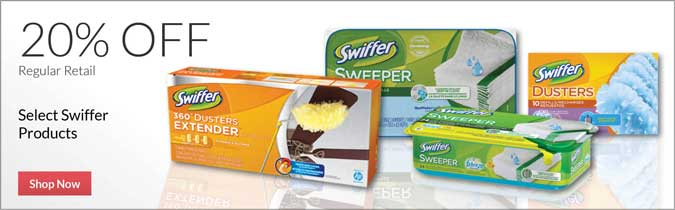 Select Swiffer Products, 20% off. Shop Now.