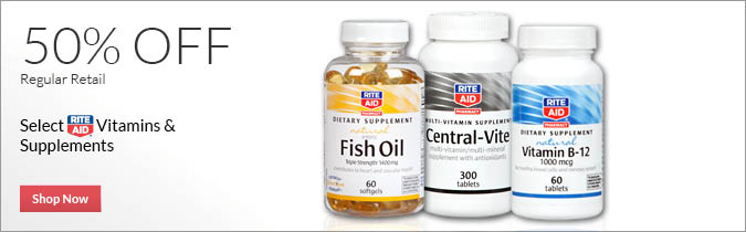 Select Rite Aid Brand Vitamins and Supplements 50% OFF. Shop Now.