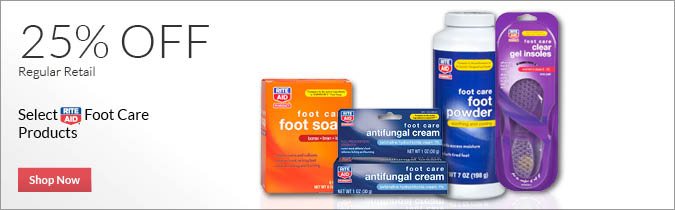 Select Rite Aid Brand Footcare Products, 25% OFF. Shop Now.