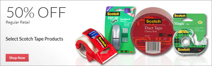 Select Scotch Tape Products, 50% off. Shop Now.