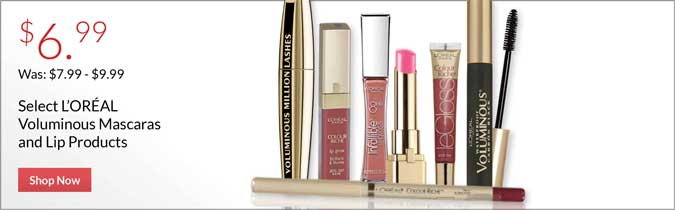 L'Oreal Voluminous Mascaras and Lip Products, $6.99