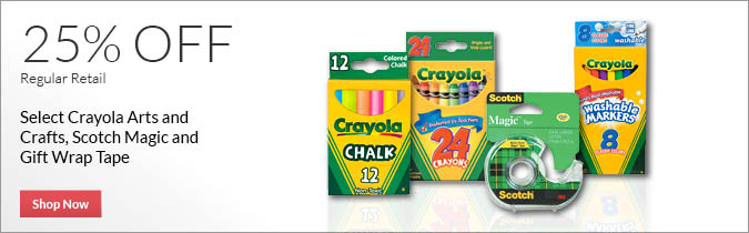 Select Crayola Arts and Crafts, Scotch Tape and More, 25% OFF. Shop Now.