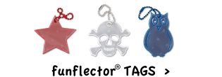 funflector tags for jackets, backpacks, bags, strollers, wheelchairs, dog collars